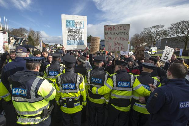 Anti water protesters gather outside the Fine Gael's National Conference 2015 in the TF Royal Hotel Castlebar. Pic: Mark Condren