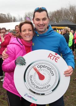 Dr Ciara Kelly and Fitness Guru Karl Henry at Operation Transformations 5k run in the Phoenix Park,Dublin in 2016