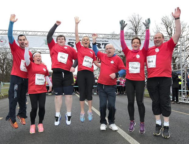 Fitness Guru Karl Henry, Leader Louise Orsmby,Leader Alan Mullen, Presnters Kathryn Thomas and John Murray, Dr Ciara Kelly and Leader Mark McArdle at Operation Transformations 5k run in the Phoenix Park, Dublin.