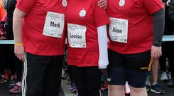 Leaders Mark McArdle, Louise Orsmbyand Alan Mullen at Operation Transformations 5k run in the Phoenix Park,Dublin.