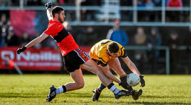 Luke Connolly of UCC, commits a foul on DCU's Colm Begley, DCU in the Independent.ie Sigerson Cup Final