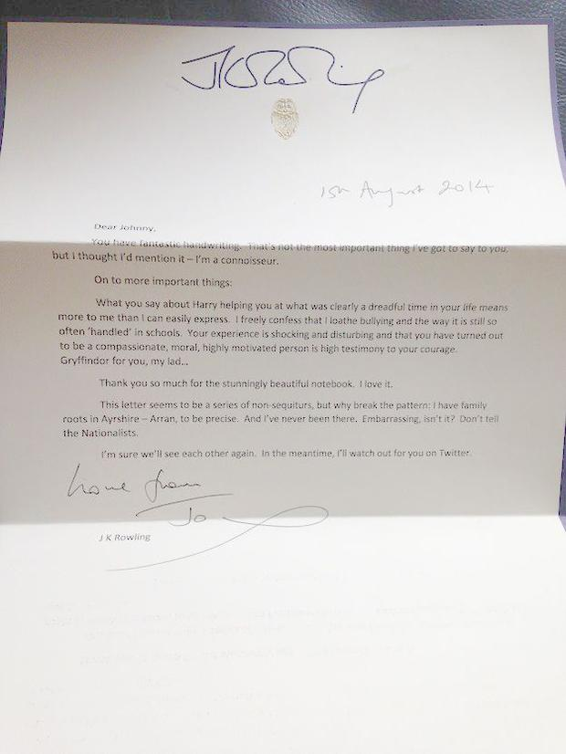 The letter to Johnnie written by JK Rowling.