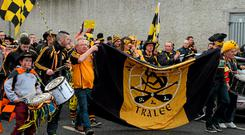 Austin Stacks supporters arrive at before their game against Slaughtneil