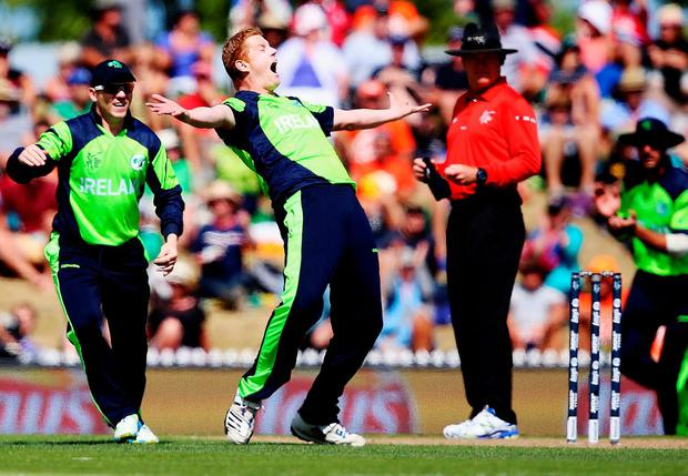 Kevin O'Brien of Ireland celebrates after dismissing Dwayne Smith of West Indies during the 2015 ICC Cricket World Cup match between the West Indies and Ireland