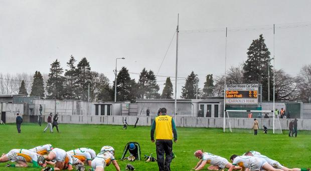 Offaly players warm down after their Walsh Cup clash against Galway at O'Connor Park in Tullamore