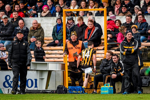 Jonjo Farrell Kilkenny, makes his way to the stand after receiving a straight red card from referee Colm Lyons.