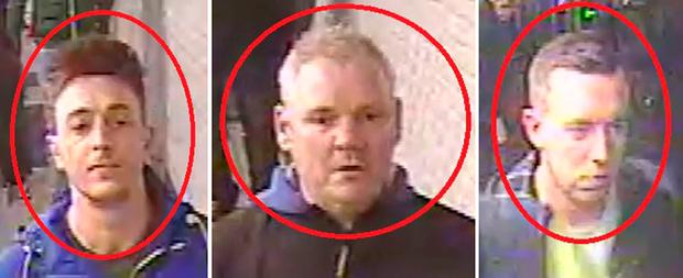 Undated handout CCTV images of three Chelsea football fans police believe were involved in an allegedly racist incident on a Paris Metro train. Photo: Metropolitan Police/PA Wire