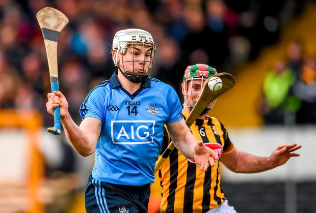 Liam Rushe, Dublin, in action against Kieran Joyce, Kilkenny