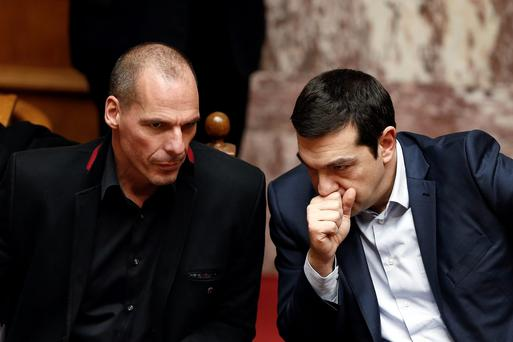 Greek Prime Minister Alexis Tsipras, right, and Finance Minister Yanis Varoufakis