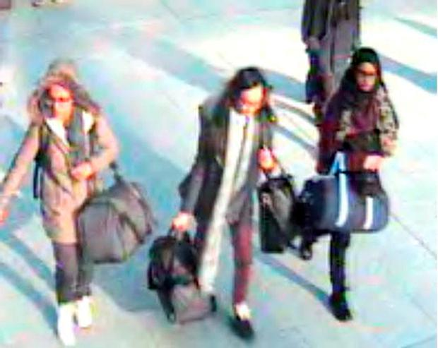 Handout still taken from CCTV issued by the Metropolitan Police of (left to right) 15-year-old Amira Abase, Kadiza Sultana,16 and Shamima Begum,15 at Gatwick airport, before they caught their flight to Turkey on Tuesday (Metropolitan Police/PA Wire)