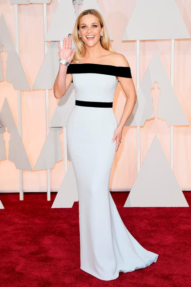 HIT: Reese Witherspoon in Tom Ford and Tiffany jewellery.