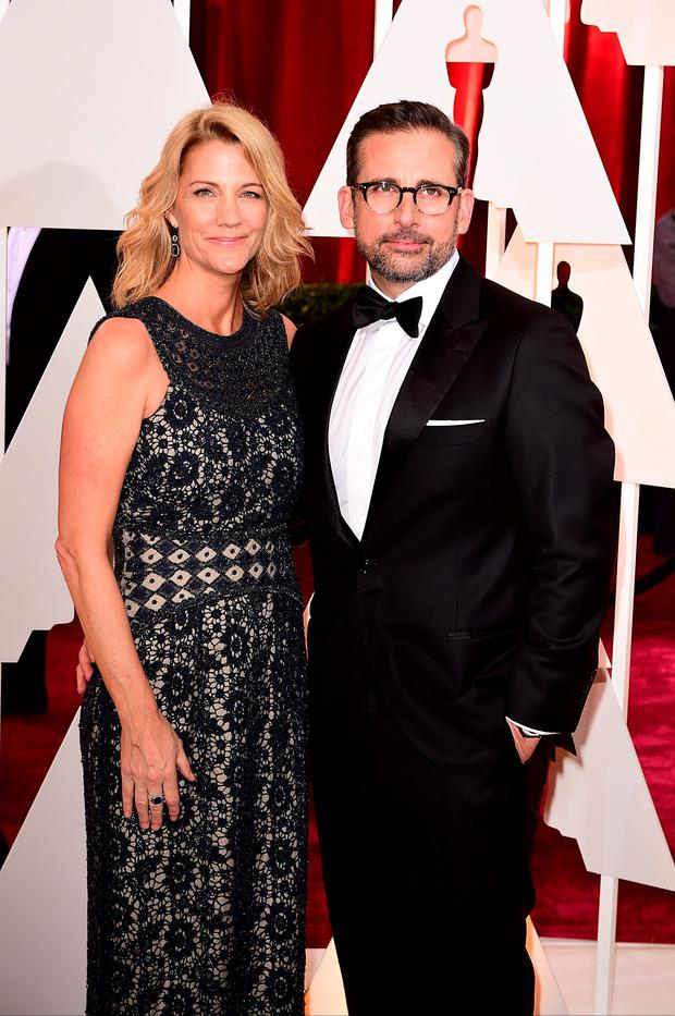 Steve Carell and wife Nancy Carell arriving at the 87th Academy Awards held at the Dolby Theatre in Hollywood, Los Angeles, USA. PRESS ASSOCIATION Photo. Picture date: Sunday February 22, 2015. See PA story SHOWBIZ Oscars. Photo credit should read: Ian West/PA Wire