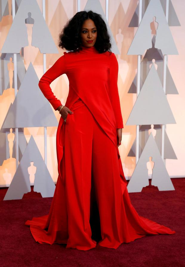 Singer Solange Knowles arrives at the 87th Academy Awards