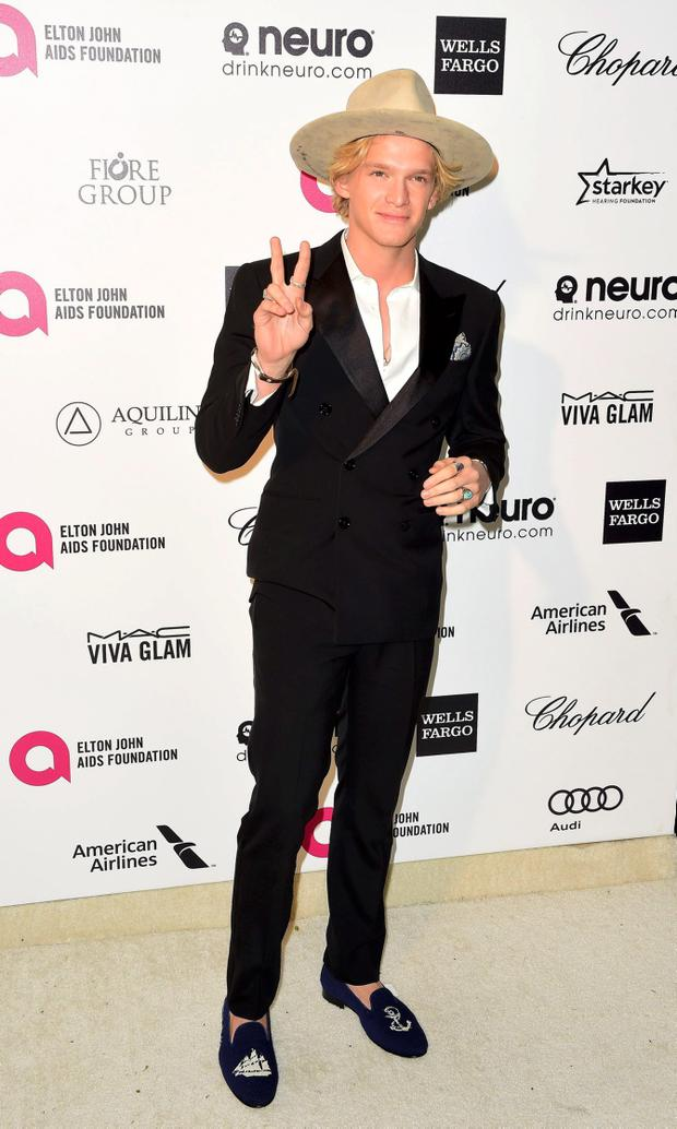 Cody Simpson arrives at the 2015 Elton John AIDS Foundation Oscar Party in West Hollywood