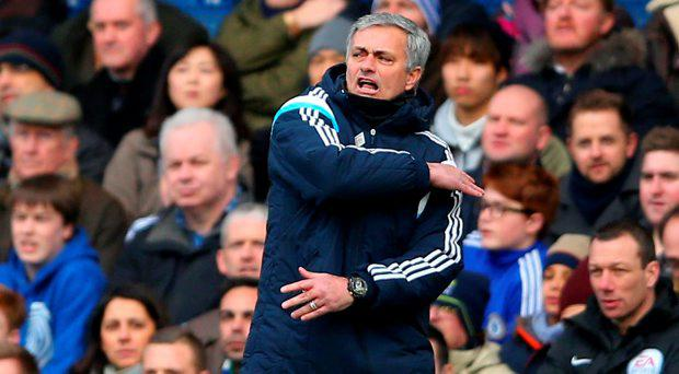Jose Mourinho the manager of Chelsea gestures
