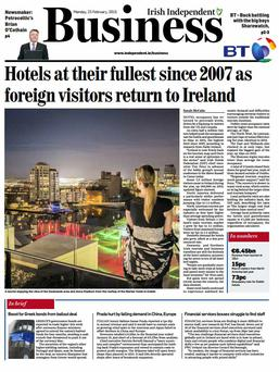 The front page of this morning's Business section