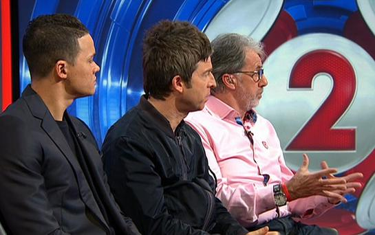 Guest appearance: Noel Gallagher (centre) offered the fans' view on Match of the Day 2 this week