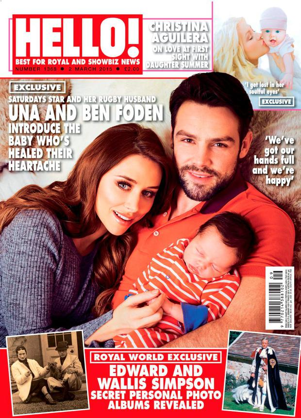 Una Foden with baby Tadhg for Hello! Magazine