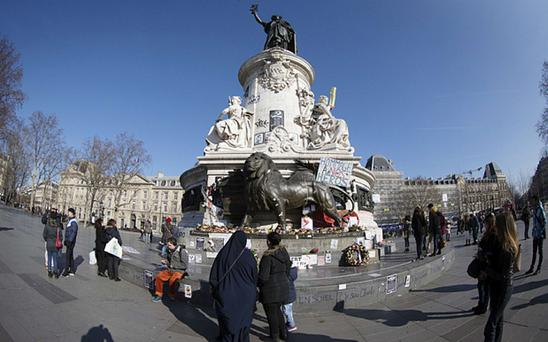 Place de la République in Paris, where a makeshift memorial has been setup for the 17 people killed in January's Charlie Hebdo attacks