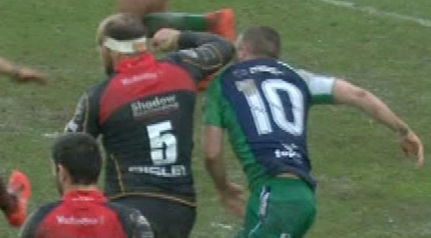 Jack Carty was caught be a very dangerous elbow