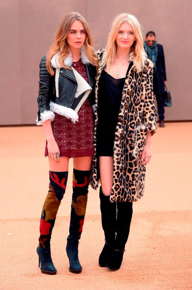 Cara Delevingne and Lily Donaldson attend the Burberry Prorsum AW 2015 arrivals during London Fashion Week