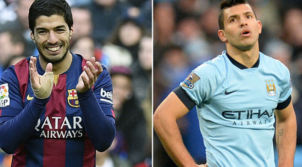 On the move: Manchester City could bolster options by selling Sergio Aguero and buying Luis Suarez Photo: AP