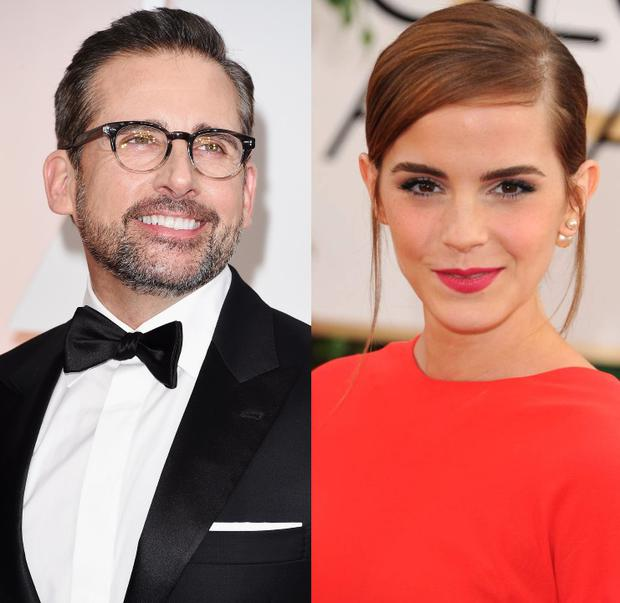 Steve Carell (left) and Emma Watson (right)