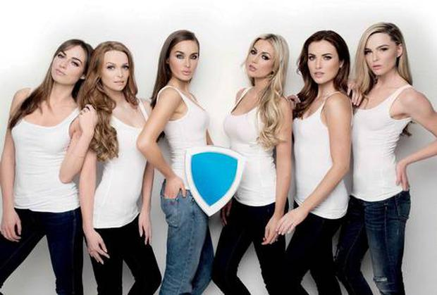 Top models fronting the Blue Shield campaign for the ISPCC. Picture: Barry McCall