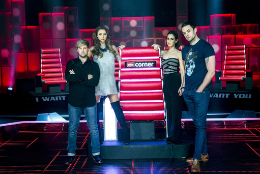 The Voice of Ireland coaches - Kian Egan, Una Foden, Rachel Stevens,and Bressie – and the judge's Red Chair.