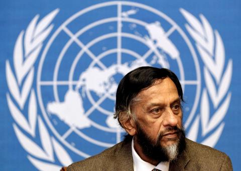 Rajendra Pachauri, chair of the Intergovernmental Panel on Climate Change (IPCC), briefs the media on the Task Force on National Greenhouse Gas Inventories at the United Nations European headquarters in Geneva. Reuters/Denis Balibouse/Files