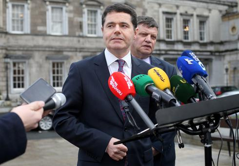 Minister for Transport, Tourism and Sport Paschal Donohoe pictured speaking to the media on the proposed sale of Aer Lingus, on the Plinth at Leinster House . 24/2/15 Pic Frank Mc Grath