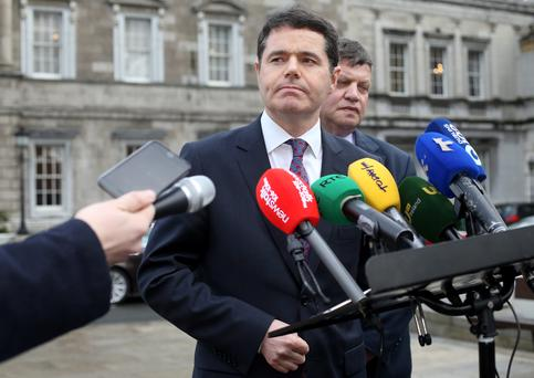 Minister for Transport, Tourism and Sport Paschal Donohoe pictured speaking to the media on the Plinth at Leinster House