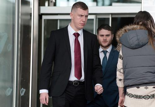 Christopher Forbes (Left) and Gerard Monroe (Right) leaving Dublin Circuit Criminal Court. Bboth received a three year suspended sentence for assault causing harm on Grafton Street, Dublin, on October 21, 2011. Pic Court Collins.