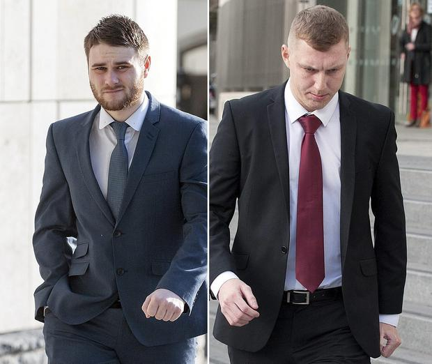 (L) Gerard Monroe and (R) Christopher Forbes leaving Dublin Circuit Criminal Court. Bboth received a three year suspended sentence for assault causing harm on Grafton Street, Dublin, on October 21, 2011. Pic Court Collins.