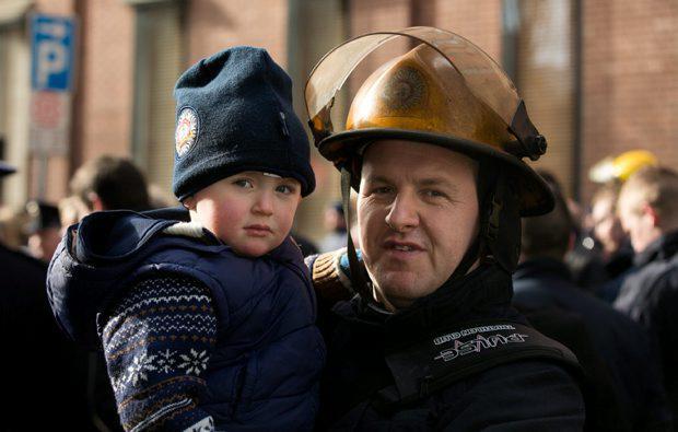 Firefighter Brian Tracey from Rathfarnam Fire station with his son Michael Tracey (2)