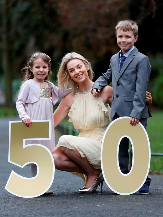 Pippa O'Connor was joined today by CMRF Crumlin's junior ambassadors Alicja Doyle (5) and Marek Doyle (8) from Finglas to announce the charity's 50th anniversary Gold Ball fundraiser on March 14th