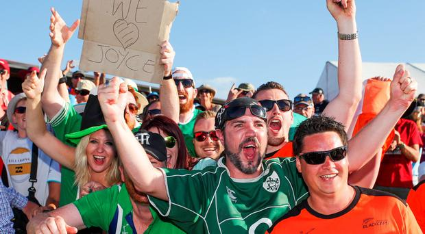 Ireland fans show their support during the 2015 ICC Cricket World Cup match between the West Indies and Ireland at Saxton Field