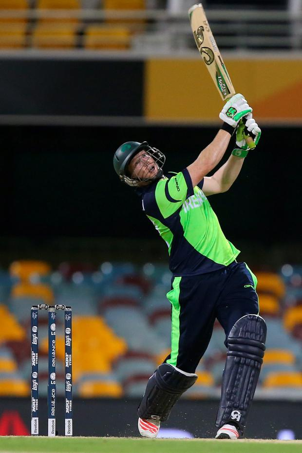 Kevin O'Brien of Ireland bats during the 2015 ICC Cricket World Cup match between Ireland and the United Arab Emirates at The Gabba in Brisbane, Australia
