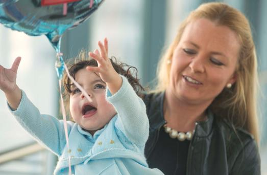 18-month-old Ava Joyce and her mother Maeve at Cork University Hospital where she has been successfully treated with neonatal diabetes. Photo: Michael Mac Sweeney/Provision