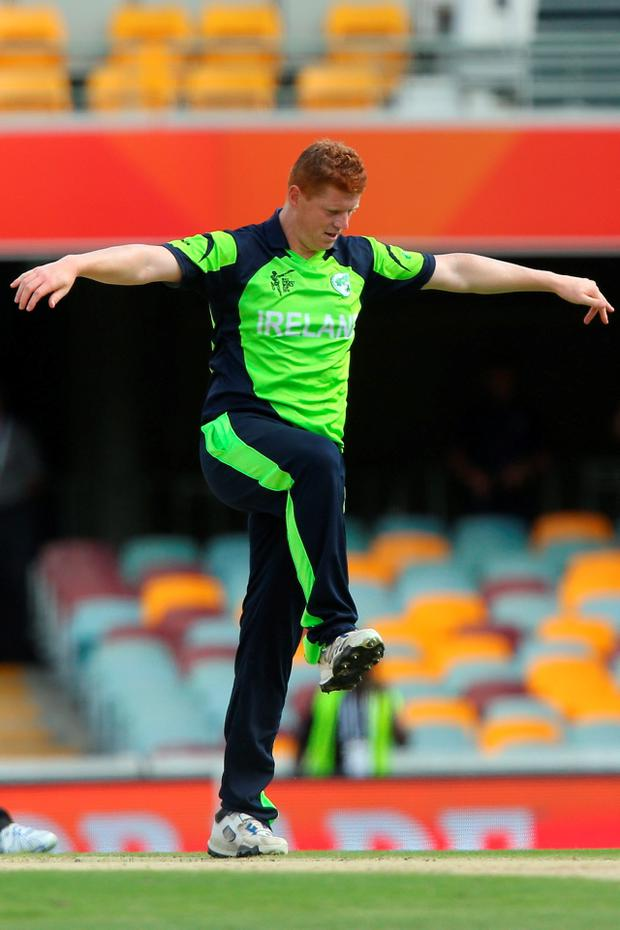 BRISBANE, AUSTRALIA - FEBRUARY 25: Niall O'Brien of Ireland celebrates after dismissing Swapnil Patil of the United Arab Emirates during the 2015 ICC Cricket World Cup match between Ireland and the United Arab Emirates at The Gabba on February 25, 2015 in Brisbane, Australia. (Photo by Chris Hyde/Getty Images)