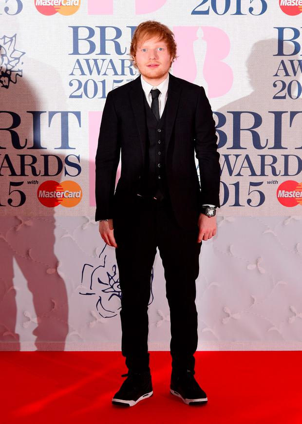 Ed Sheeran arriving for the 2015 Brit Awards at the O2 Arena, London.