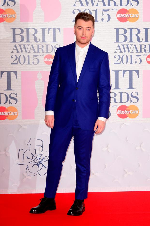 Sam Smith arriving for the 2015 Brit Awards at the O2 Arena, London.