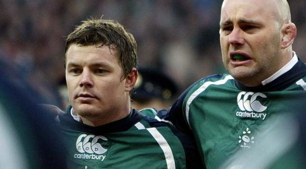 Brian O'Driscoll and John Hayes during the national anthem for the Six Nations encounter between Ireland and England in 2007.