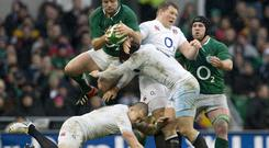 Rory Best beats Dylan Hartley to the ball during the Six Nations game at the Aviva Stadium in 2013