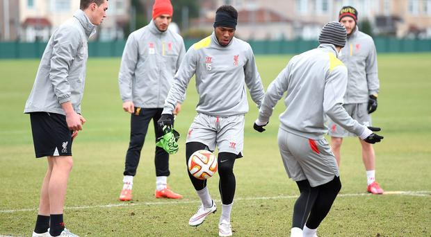 Daniel Sturridge shows his close control during Liverpool's training session in Melwood yesterday