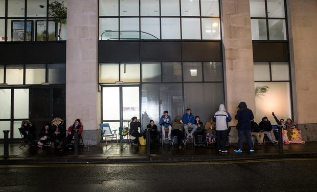 Ed Sheeran fans queue overnight outside the Jrevis Street Shopping centre to buy tickets for the Ed Sheeran concert which go on sale on Thursday morning. Picture:Arthur Carron