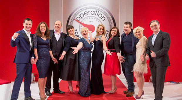 Fitness expert Karl Henry, Dr. Ciara Kelly, leaders Mark McArdle, Veronica Horgan, Eilish Kavanagh, Presenter Kathryn Thomas, leaders Louise Ormsby, and Alan Mullen, Dietitian Aoife Hearne and Principal Clinical Psychologist with the HSE Dr Eddie Murphy pictured at the Operation Transformation catwalk finale