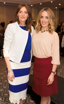 Ingrid Hoey & Kathryn Thomas pictured at the Lennon Courtney & Loulerie showcase Spring/Summer collections at the Grafton Suite, Westbury Hotel. Photo: Anthony Woods