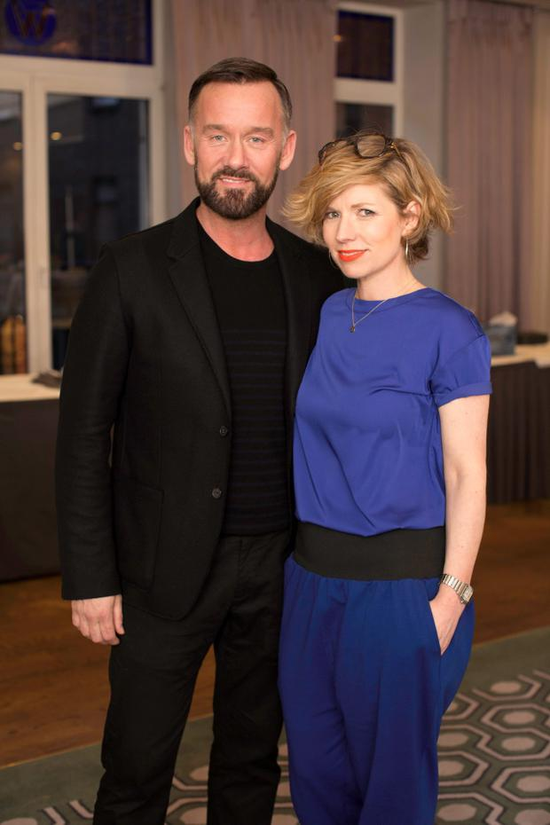 Brendan Courtney & Sonya Lennon pictured at the Lennon Courtney & Loulerie showcase Spring/Summer collections at the Grafton Suite, Westbury Hotel. Photo: Anthony Woods