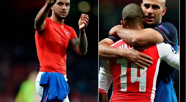 Walcott makes a gestures to fans after match and (inset) he embraces Monaco's Aymen Abdennour